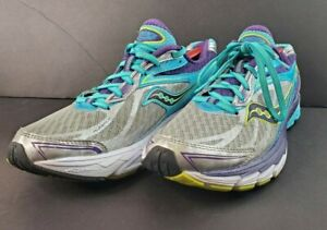Saucony Ride 8 Women's S10273-1 Silver/Purple/Blue Running Shoes Size 10