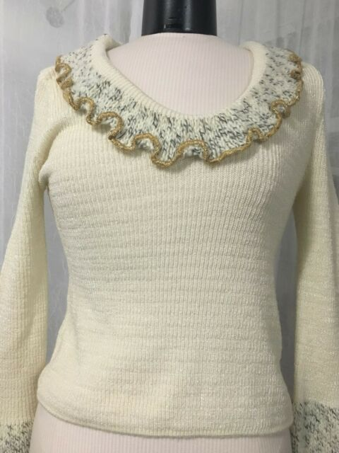 Solune Paris Women's Sweater Ivory Knit Sweater With Gold Trim Size Small