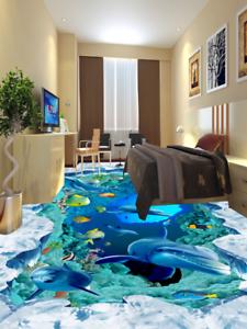 3D Ice Lake Dolphin 5 Floor WallPaper Murals Wall Print 5D AJ WALLPAPER UK Lemon