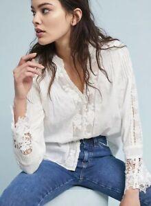 Anthropologie-Eri-Ali-Elmira-Off-White-Lace-Top-Blouse-Size-XS