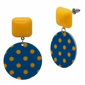 Studs Earrings Retro 60er Years Polkadot Blue Mustard Yellow Rockabilly Plastic