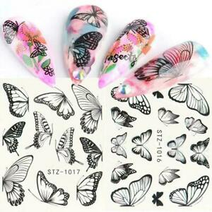 30Pcs-Flower-Water-Nail-Stickers-Butterfly-Colorful-Art-Decals-Nails-Y9W5