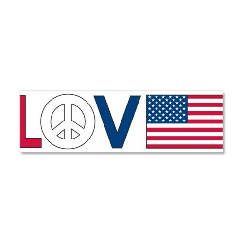 593843574 CafePress Love Peace America Car Magnet