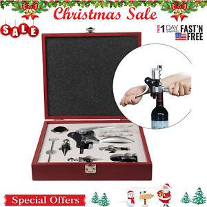 10-Piece-Wine-Bottle-Opener-Corkscrew-Stopper-Foil-Cutter-W-Mahogany-Box-Gift
