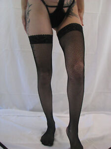 ebfeb18ef Image is loading Baci-Lingerie-Black-Lace-Topped-Fishnet-Thigh-High-