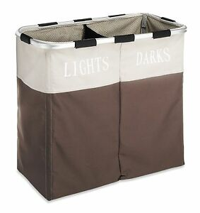 Double 2 Section Laundry Hamper Washing Basket Clothes Storage Bin Fold Sorter