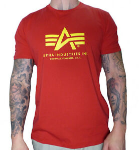 98d1a60922ef La imagen se está cargando Alpha-Industries-Basic-t-shirt-camisa-Speed-red-
