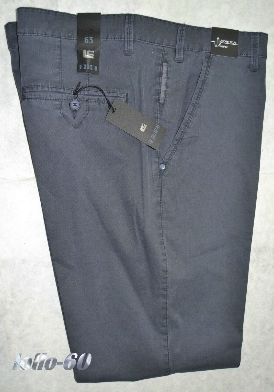 Men's trousers PLUS SIZES size 63 stretch cotton bluee washed-out OVERSIZE