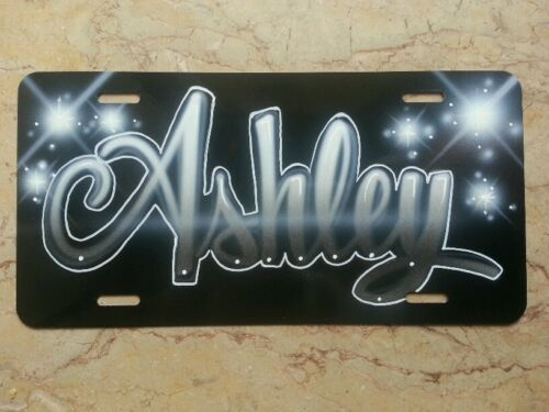 Custom License Plate Car Tag Personalized Name Airbrush Gray Black Grey Silver