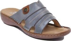 Für Original auswählen Shop für neueste laest technology Rieker 60876-12 Women Slip On Leather Mule Sandals In Denim Blue ...