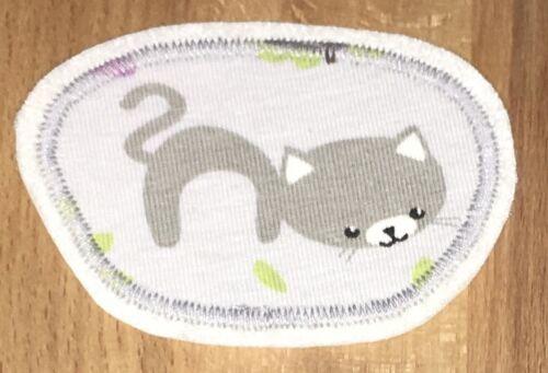 Applikation Aufnäher Bügelbild Patch Flicken Katze grau rosa braun sweet