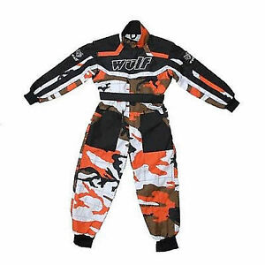 kids orange camo wulfsport race suit overalls motocross go karting child ktm sx ebay. Black Bedroom Furniture Sets. Home Design Ideas
