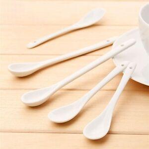 Ice-Cream-Kitchen-Tea-Dessert-Bone-Ceramic-Coffee-Spoon-Procelain-Pure-White