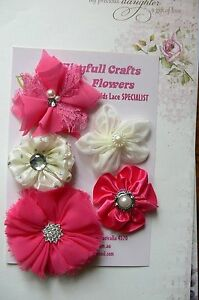 HANDMADE-5-Flower-Mix-FUCHSIA-amp-IVORY-Organza-Lace-Satin-45-70mm-Njoyfull-Crafts