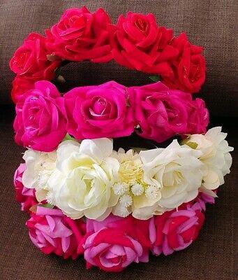 Damen Mädchen Boho Haarreif mit Rosa Blume Krone Fest Hochzeit Girlande Haarband