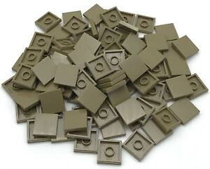 Lego Lot of 5 New Tan Tiles 1 x 2 with Groove Flat Smooth Pieces