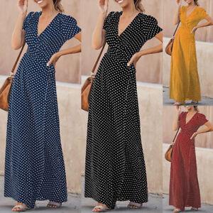 Mode-Femme-Loose-Col-V-Manche-Courte-a-Pois-Longue-Fete-Robe-Dresse-Maxi-Plus