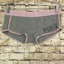 New Victoria's Secret Love PINK Logo Boyshorts Iridescent Gray Size Large L