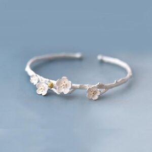 925-Sterlingsilber-Damen-Armband-Armreif-Kirschbluete-Bluete-Ast-Silber-Filigran