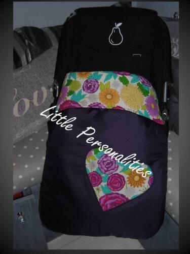 purple cream yellow flower heart waterproof stay put buggy//pram blanket//footmuff