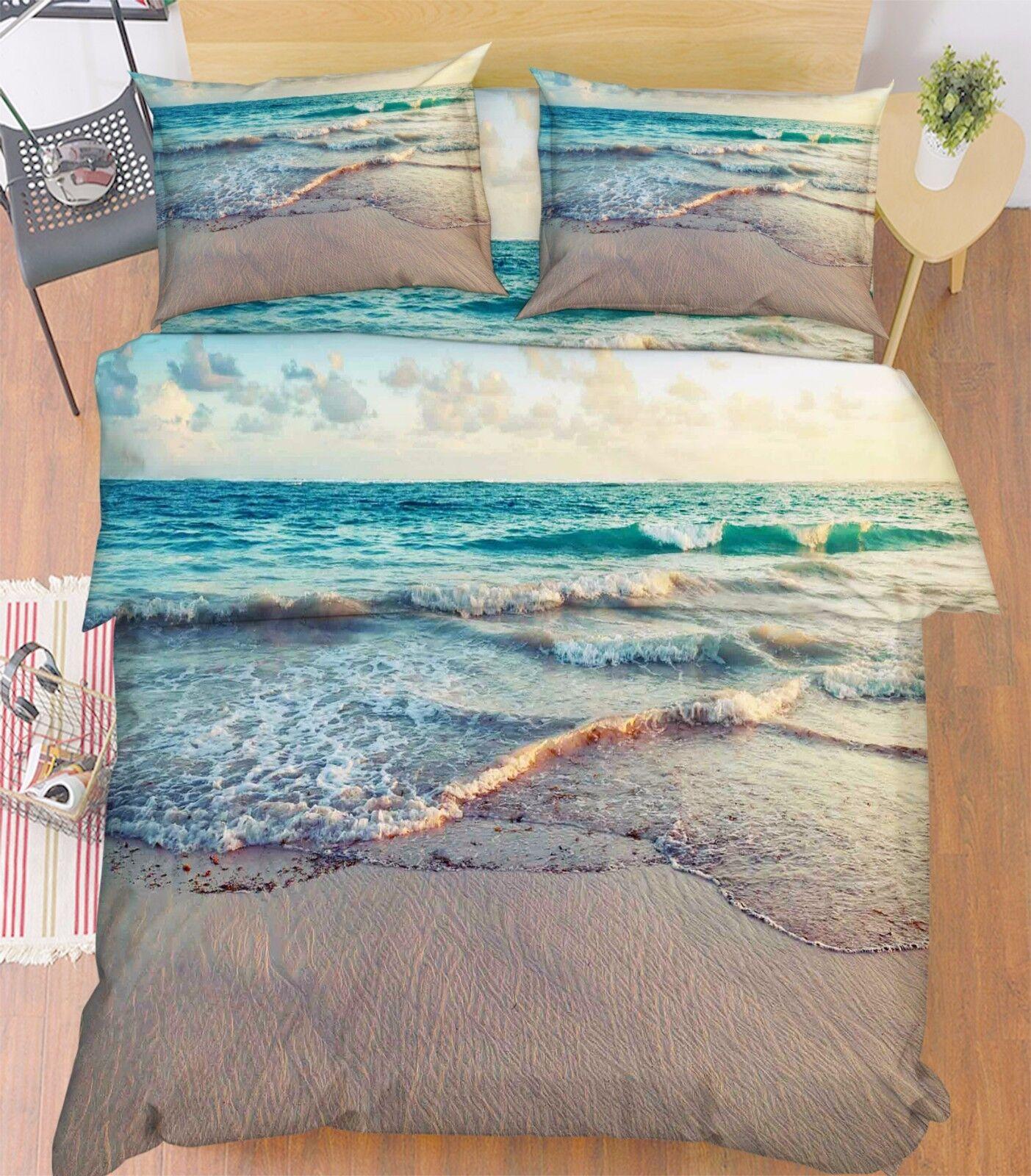 3D Waves Beach 877 Bed Pillowcases Quilt Duvet Cover Set Single Queen UK Kyra