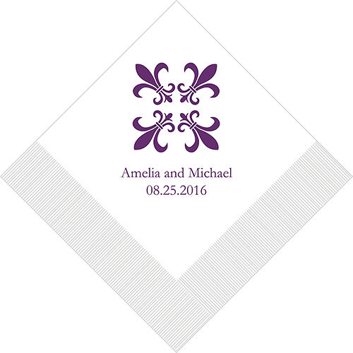 300 Fleur de Lis Personalized Wedding Luncheon Napkins