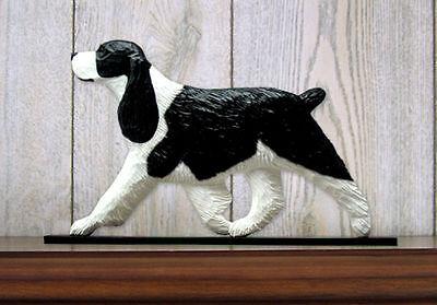 English Springer Spaniel Dog Figurine Sign Plaque Display Wall Decoration Black