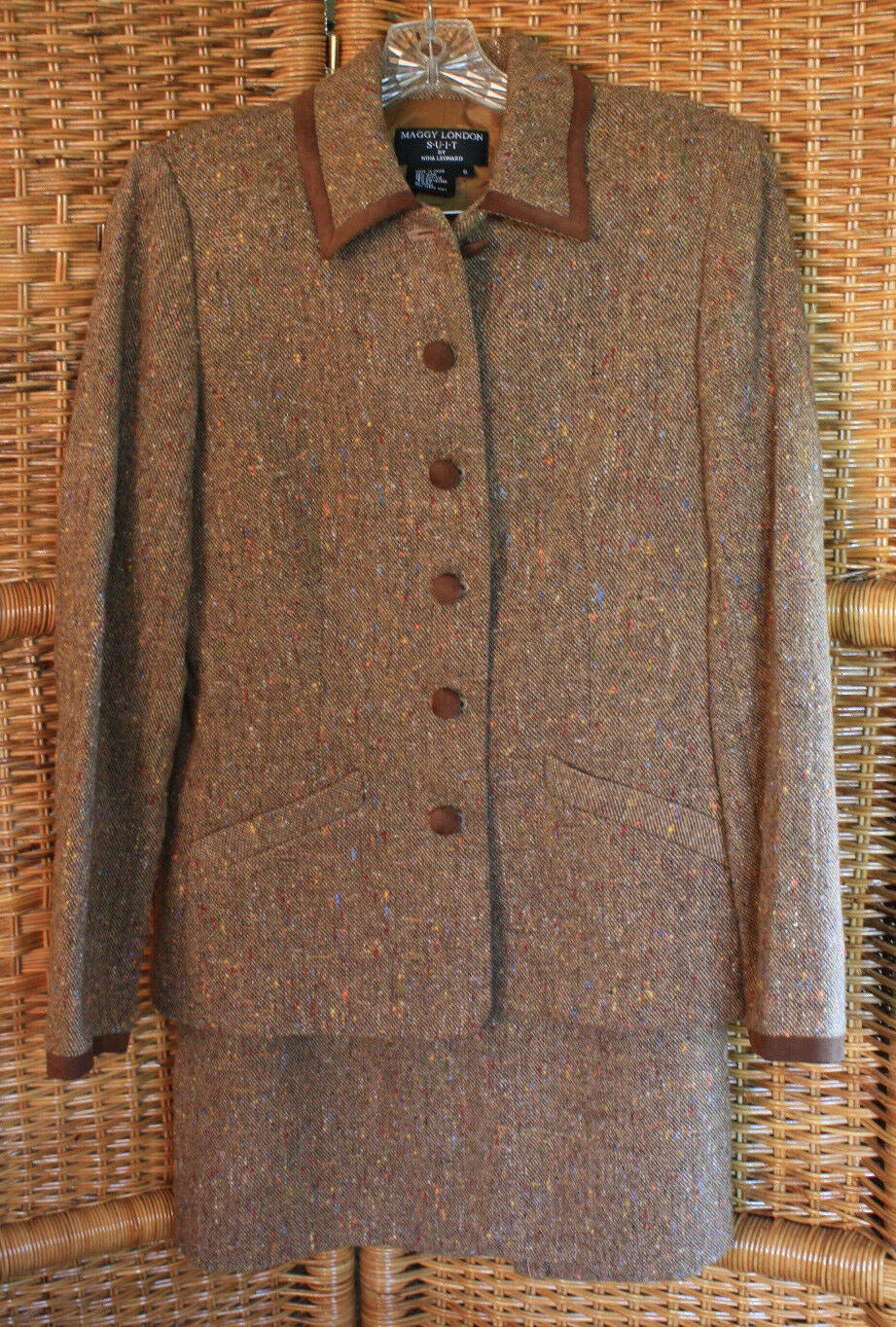 Maggie London Suit Nina Leonard Wool Blend Skirt Suit Brown Tweed Sz 6 Costume