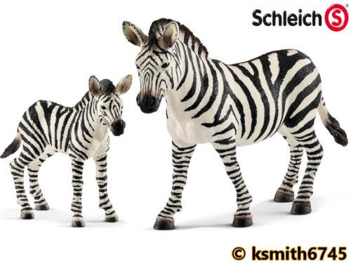 NUOVO * Schleich Zebra /& Puledro Plastica Solida giocattolo Wild Zoo Animale Africano