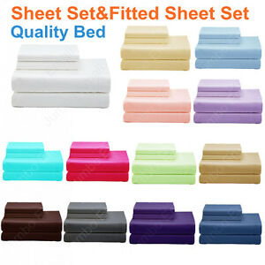 NEW-Single-King-Single-Double-Queen-amp-King-Bed-Quality-SHEET-Set-amp-FITTED-SHEET-Set