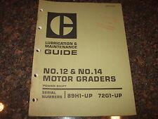 Cat Caterpillar No 12 No 14 Motor Grader Operation Amp Maintenance Manual 89h 72g