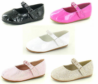 GIRLS SAVANNAH CASUAL RIPTAPE STRAP BALLERINA DIAMANTE FLOWER TRIM SHOES H2284
