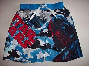 Star-Wars-Swimsuit-Swimwear-Trunks-Bathing-Suit-Boardshort-Boys-Sz-4-5-Vader-NWT
