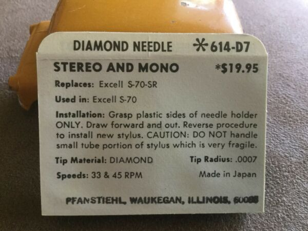 Vintage Nos Pfanstiehl Turntable Record Player Needle # 614-d7