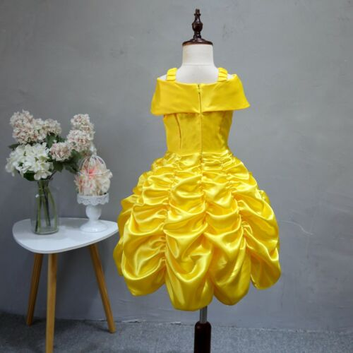 Girl Princess Dress Beauty and the Beast Belle Cosplay Costume Kids Clothes Xmas