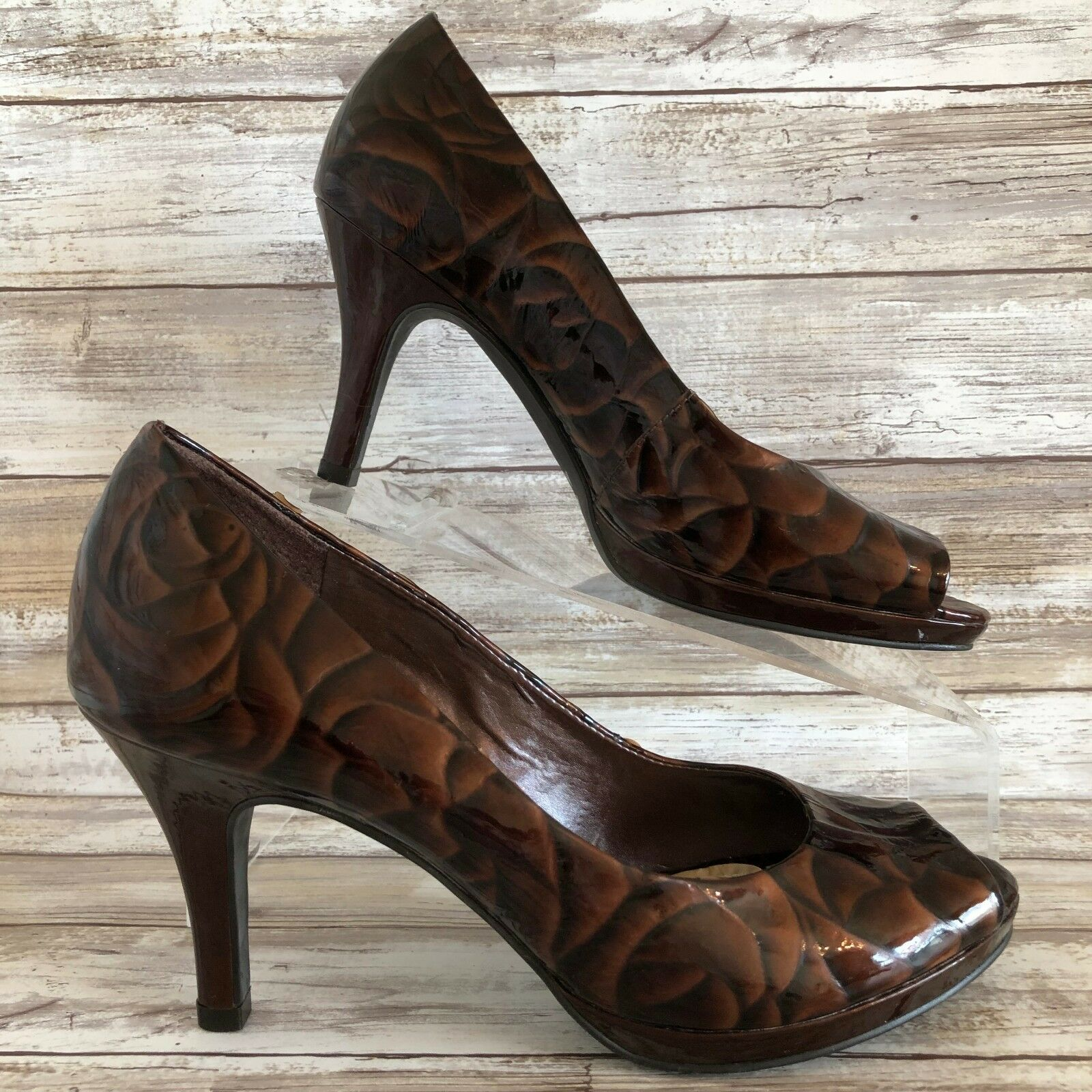 Alex Marie Womens Dress Work Pumps Brown Patent Leather Open Toe 8M