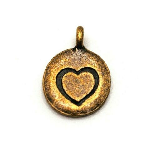 12 mm 4 or 12 pcs Copper Heart Coin Charms US Seller AC092