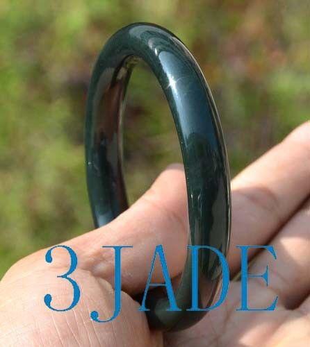 63.5 mm NATURAL BLACK jade jade ronde bracelet jonc avec certificat