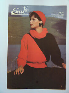 Details about Knitting Pattern Emu DK Ladies 2 Colour Roll Neck Sweater & Scarf 32 38
