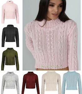 b73256fea98a7d New Ladies High Polo Neck Long Sleeve Chunky Cable Knitted Crop Top ...