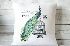 "Paris Peacock - 16"" cushion cover French shabby vintage chic - UK handmade"
