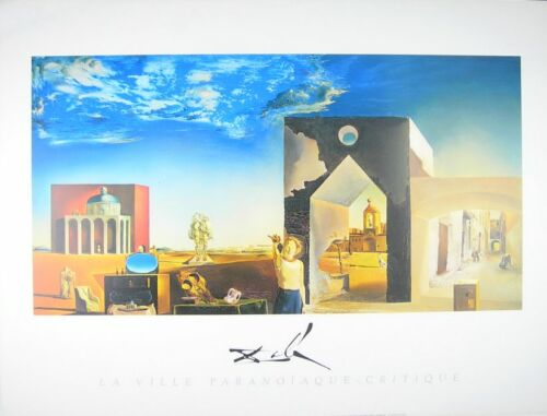 Salvador Dali Banlieu de la Ville Paranoia Apres-Midi Poster Kunstdruck Bild