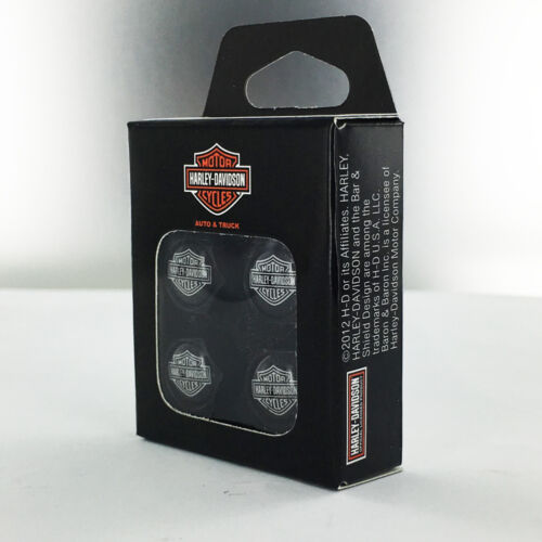 Harley-Davidson Black Valve Cap Covers With Traditional Bar /& Shield
