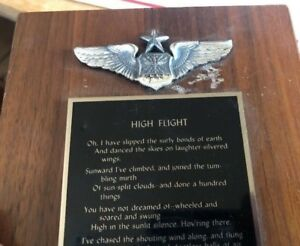 1971-USAF-Fighter-Jet-Pilot-Wings-VietNam-Aviation-Award-Plaque-High-Flight-Poem