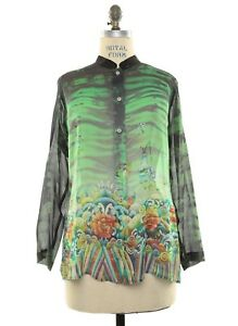 Citron-Santa-Monica-Silk-Georgette-Sunflowers-Waves-Hand-Dyed-Blouse-Top-Size-L