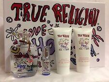 LOVE HOPE DENIM True Religion Women PERFUME  3.4 OZ EDP 4PC GIFT SET