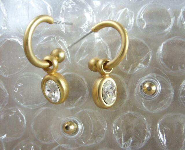 Zeitlose Ohrstecker Ohrringe Halbcreolen goldfarben matt m.weißen Zirkonia