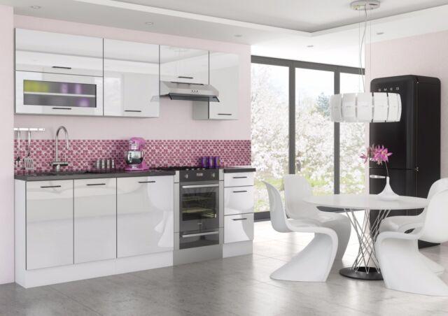 White High Gloss Kitchen 7 Units Cabinets Set Black Accent
