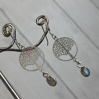Labradorite & Lightweight Tree Of Life 925 Sterling Silver Stamped hook Earrings