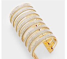 Clear White Gold Wide Cuff Crystal Rhinestone Wedding Statement Big Bracelet